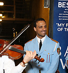 Ari'el Stachel watching David Yazbek with the Alexandria Ceremonial Police Orchestra  during 'The Band's Visit'  Post-Show Jam celebrating the 10 Time Tony Award Winning Best Musical at the Barrymore Theatre on June 12, 2018 in New York City.