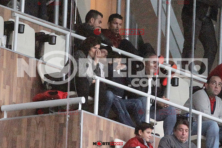 Real Madrid's Cristiano Ronaldo with his family during La Liga match.January 31,2015. (ALTERPHOTOS/Acero) /NortePhoto<br />