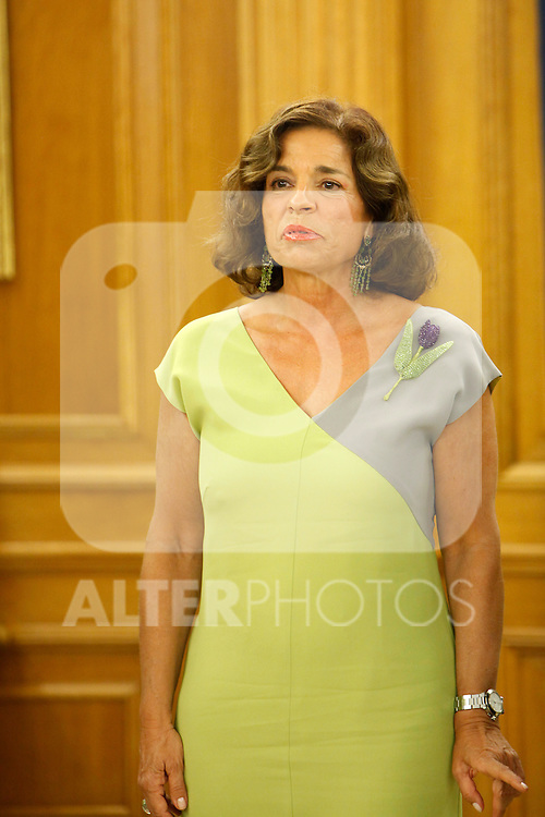 King Juan Carlos of Spain and Prince Felipe of Spain recive in audience to COI representation for candidature of Madrid 2020 Olympic Games in a Zarzuela Place in Madrid. In the pic: Ana Botella. September 10, 2013. (ALTERPHOTOS/Caro Marin)