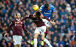 01.12.2019 Rangers v Hearts: Alfredo Morelos heads in to open the scoring for Rangers