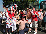 10 June 2006: England fans block traffic while posing for photographs near FIFA Fan Fest after the game. England played Paraguay at Commerzbank Arena in Frankfurt, Germany in match 3, a Group B first round game, of the 2006 FIFA World Cup.