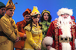 Adam Heller, Leslie Kritzer, Wayne Knight & Company during the First Performance Curtain Call of the Broadway Holiday Hit Musical 'Elf'  at the Al Hirschfeld  Theatre in New York City on 11/09/2012
