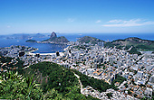 Rio de Janeiro, Brazil. View from below the Christ Statue over Flamengo and Botafogo, Guanabara Bay and the Sugar Loaf.