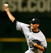Washington, D.C. - June 16, 2006 -- New York Yankees pitcher Mariano Rivera (42) releases a pitch in the bottom of the ninth inning against the Washington Nationals at RFK Stadium in Washington, D.C. on June 16, 2006.  The Yankees won the game 7 -5.<br /> Credit: Ron Sachs / CNP