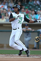 Dayton Dragons outfielder Yorman Rodriguez #29 bats during a game against the Lake County Captains at Fifth Third Field on June 25, 2012 in Dayton, Ohio. Lake County defeated Dayton 8-3. (Brace Hemmelgarn/Four Seam Images)