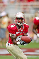 September 04, 2010:    Florida State Seminoles wide receiver Taiwan Easterling (8) warms up prior to the start of first half action between the Florida State Seminoles and the Samford Bulldogs at Doak Campbell Stadium in Tallahassee, Florida.  Florida State defeated Samford 59-6.