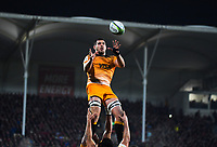 Guido Petti takes lineout ball during the 2019 Super Rugby final between the Crusaders and Jaguares at Orangetheory Stadium in Christchurch, New Zealand on Saturday, 6 July 2019. Photo: Dave Lintott / lintottphoto.co.nz