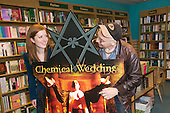 "27 May 2008, London/UK, Chemical Wedding Book - Photo Shoot. Actress Lucy Cudden and Writer/Director Julian Doyle present the book ""Chemical Wedding"" (written by Iron Maiden star Bruce Dickinson with Julian Doyle) at the Owl Bookshop in Kentish Town, London. (Photo: Bettina Strenske)"