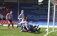 .Photo Peter Spurrier.06/04/2002.Nationwide Div 2.Brentford vs Huddersfield - Griffen Park:.Lloyd Owusa, scores Brentfors first goal. ..