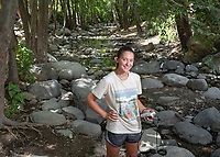 Clarasophia Gust '19 collects water samples and data in Eaton Canyon as a summer intern for the Council for Watershed Health, part of Occidental College's InternLA program.<br /> Career Services' InternLA is a paid summer internship program which helps Oxy students gain real-world work experience from actual businesses in Los Angeles and surrounding area.<br /> (Photo by Marc Campos, Occidental College Photographer)