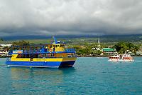 Spirit of Kona tour boat, Diamond Princess cruise ship transport boat, Kailua Kona, The Big Island of Hawaii