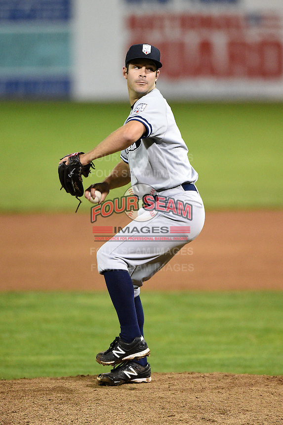 Staten Island Yankees pitcher Matt Wotherspoon (35) delivers a pitch during a game against the Batavia Muckdogs on August 8, 2014 at Dwyer Stadium in Batavia, New York.  Staten Island defeated Batavia 4-2.  (Mike Janes/Four Seam Images)