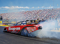 Sep 4, 2016; Clermont, IN, USA; NHRA funny car driver Cruz Pedregon during qualifying for the US Nationals at Lucas Oil Raceway. Mandatory Credit: Mark J. Rebilas-USA TODAY Sports