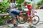 Daniel Navarro Garcia (ESP) Cofidis receives mechanical assistance during Stage 10 of the 2018 Tour de France running 158.5km from Annecy to Le Grand-Bornand, France. 17th July 2018. <br /> Picture: ASO/Pauline Ballet | Cyclefile<br /> All photos usage must carry mandatory copyright credit (&copy; Cyclefile | ASO/Pauline Ballet)