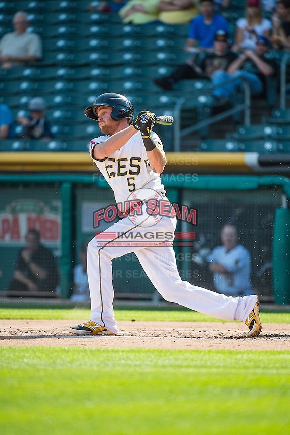 Ryan Jackson (5) of the Salt Lake Bees at bat against the Albuquerque Isotopes in Pacific Coast League action at Smith's Ballpark on June 8, 2015 in Salt Lake City, Utah.  The Bees defeated the Isotopes 10-7 in game one of a double-header.(Stephen Smith/Four Seam Images)
