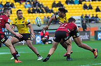 Hurricanes' Vince Aso passes to Chase Tiatia during the Super Rugby Aotearoa match between the Hurricanes and Crusaders at Sky Stadium in Wellington, New Zealand on Saturday, 21 June 2020. Photo: Dave Lintott / lintottphoto.co.nz