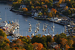 View of Camden village and harbor from Mt. Battie, Camden Hills State Park, Knox County, Maine, USA