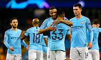Manchester City's Gabriel Jesus celebrates scoring his side's sixth goal, his third, with Danilo<br /> <br /> Photographer Alex Dodd/CameraSport<br /> <br /> UEFA Champions League Group F - Manchester City v Shakhtar Donetsk - Wednesday 7th November 2018 - City of Manchester Stadium - Manchester<br />  <br /> World Copyright © 2018 CameraSport. All rights reserved. 43 Linden Ave. Countesthorpe. Leicester. England. LE8 5PG - Tel: +44 (0) 116 277 4147 - admin@camerasport.com - www.camerasport.com