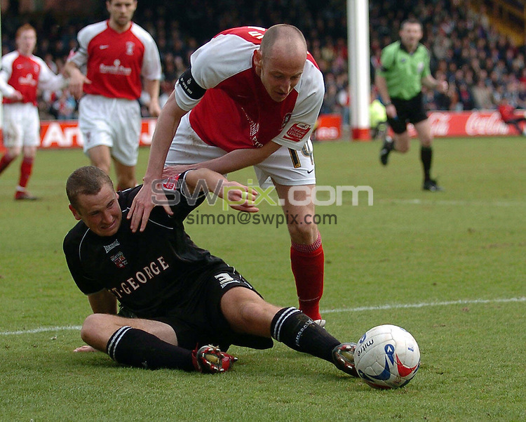 Pix: Howard Roe/SWpix.com. Football, Coca Cola League 1, Rotherham v Brentford, 15/04/06...copyright picture>>simon wilkinson>>07811267706>>..Rotherham's John Mullin tussles with  Brentfords's Andrew Frampton