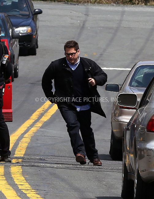 WWW.ACEPIXS.COM....Aporil 16 2013, New York City....Actor Jonah Hill shot a scene for the new movie 'True Story' on April 16 2013 in Sparkhill, New York........By Line: Philip Vaughan/ACE Pictures....ACE Pictures, Inc...tel: 646 769 0430..Email: info@acepixs.com..www.acepixs.com