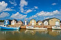 Fishing boats in coastal village<br />New London<br />Prince Edward Island<br />Canada