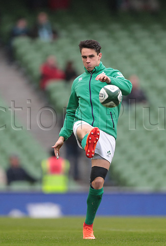 March 18th 2017, Aviva Stadium, Dublin, Ireland; 6 Nations Mens international rugby union, Ireland versus England; Joey Carbery (Ireland) warming up.
