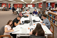 From left: Anthony Solis '22, Phoebe Patinkin '22, Aly Olkein '22, Isaac Cordova '22<br /> Occidental College students study for finals and write papers during finals week in the Academic Commons/Mary Norton Clapp Library, Monday afternoon, Dec. 10, 2018.<br /> (Photo by Marc Campos, Occidental College Photographer)