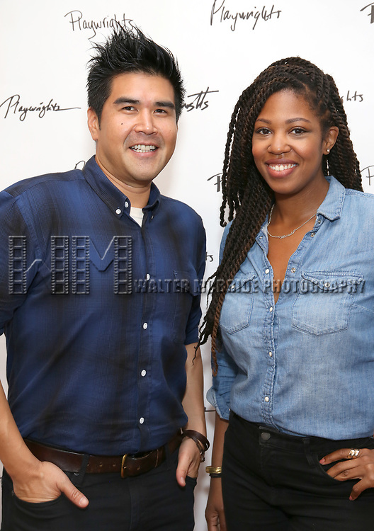 Pun Bandhu and Marinda Anderson during the first day of rehearsals for the Playwrights Horizons production of 'The Treasurer' on August 1, 2017 at the Playwrights rehearsal studio in New York City.