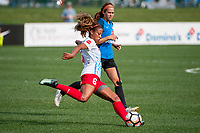 Kansas City, MO - Wednesday August 16, 2017: Casey Short, Shea Groom during a regular season National Women's Soccer League (NWSL) match between FC Kansas City and the Chicago Red Stars at Children's Mercy Victory Field.