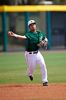 Dartmouth Big Green shortstop Justin Fowler (25) during practice before a game against the South Florida Bulls on March 27, 2016 at USF Baseball Stadium in Tampa, Florida.  South Florida defeated Dartmouth 4-0.  (Mike Janes/Four Seam Images)