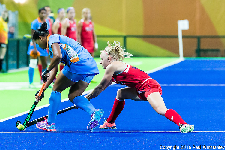 Jill Witmer #10 of United States tackles during USA vs India in a women's Pool B game at the Rio 2016 Olympics at the Olympic Hockey Centre in Rio de Janeiro, Brazil.