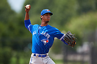 GCL Blue Jays relief pitcher Franniel Polanco (21) delivers a pitch during a game against the GCL Phillies East on August 10, 2018 at Carpenter Complex in Clearwater, Florida.  GCL Blue Jays defeated GCL Phillies East 8-3.  (Mike Janes/Four Seam Images)