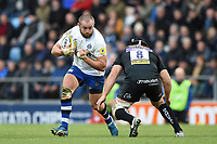 Tom Dunn of Bath Rugby in possession. Aviva Premiership match, between Exeter Chiefs and Bath Rugby on December 2, 2017 at Sandy Park in Exeter, England. Photo by: Patrick Khachfe / Onside Images