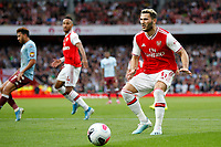 Sead Kolašinac of Arsenal fails to reach the ball during the Premier League match between Arsenal and Aston Villa at the Emirates Stadium, London, England on 22 September 2019. Photo by Carlton Myrie / PRiME Media Images.
