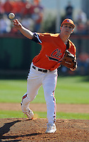 Clemson University pitcher Trent Rothlin (13) in a game between the Clemson Tigers and Mercer Bears on Feb. 23, 2008, at Doug Kingsmore Stadium in Clemson, S.C. Photo by: Tom Priddy/Four Seam Images