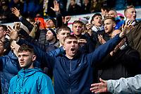 Leeds United fans cheer their side on<br /> <br /> Photographer Alex Dodd/CameraSport<br /> <br /> The EFL Sky Bet Championship - Leeds United v Sheffield United - Saturday 16th March 2019 - Elland Road - Leeds<br /> <br /> World Copyright © 2019 CameraSport. All rights reserved. 43 Linden Ave. Countesthorpe. Leicester. England. LE8 5PG - Tel: +44 (0) 116 277 4147 - admin@camerasport.com - www.camerasport.com