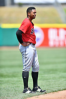 Birmingham Barons left fielder Eloy Jimenez (21) during a game against the Tennessee Smokies at Smokies Stadium on May 6, 2018 in Kodak, Tennessee. The Smokies defeated the Barons 6-2. (Tony Farlow/Four Seam Images)