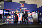 Atletico´s President Enrique Cerezo (L), Jose Luis Caminero (R) and Croatian Mario Mandzukic during his official presentation as a new Atletico de Madrid´s football player at Vicente Calderon stadium in Madrid, Spain. July 24, 2014. (ALTERPHOTOS/Victor Blanco)