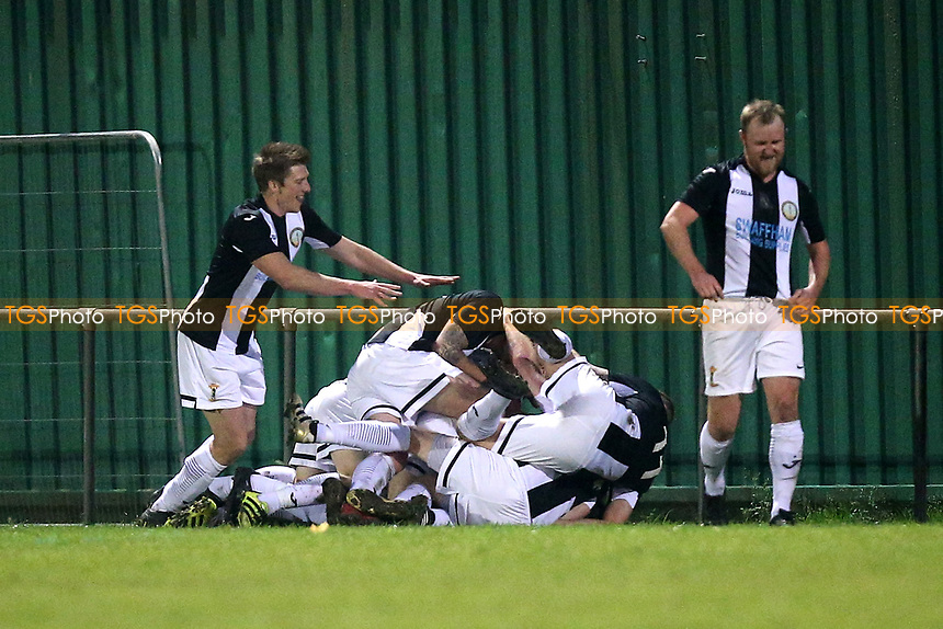 Swaffham players celebrate scoring the first goal during May & Baker vs Swaffham Town, Buildbase FA Vase Football at Gale Street on 4th November 2018