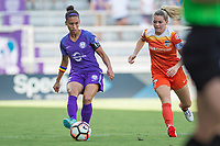 Orlando, FL - Saturday June 24, 2017: Kristen Edmonds, Kealia Ohai during a regular season National Women's Soccer League (NWSL) match between the Orlando Pride and the Houston Dash at Orlando City Stadium.
