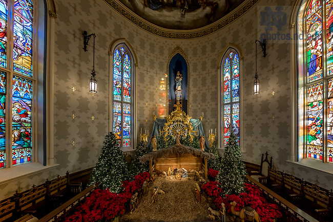January 17, 2018; Nativity scene in the Lady Chapel at the Basilica of the Sacred Heart (Photo by Matt Cashore/University of Notre Dame)