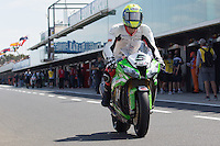Alexander Lundh (SWE) riding the Kawasaki ZX-10R (5) of the Pedercini Team leaving the pits for a practise session on day one of round one of the 2013 FIM World Superbike Championship at Phillip Island, Australia.
