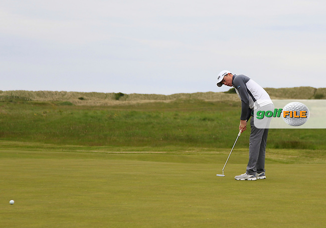 Stuart Grehan (Tullamore) on the 9th green during Round 1 of the East of Ireland Amateur Open Championship at Co. Louth Golf Club, Baltray on Saturday 30th May 2015.<br /> Picture:  Thos Caffrey / www.golffile.ie