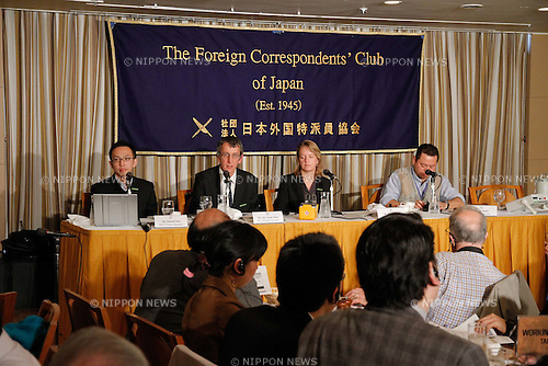 April 11, 2011, Tokyo, Japan - Greenpeace activists present their findings of radiation monitoring near a crippled nuclear power plant in Fukushima, northeastern Japan, during a news conference at Tokyo Foreign Correspondent Club of Japan on Monday, April 11, 2011. The environmental group has been monitoring contamination levels outside the evacuation zone from Fukushima No.1 nuclear plant since March 26. They are, from left: Junichi Sato, Greenpeace Japan executive director; Jan van de Putte, Greenpeace International radioactivity safety advisor; and Rianne Teule, Greenpeace International energy campaigner and radiation expert. (Photo by AFLO) [3609] -mis-
