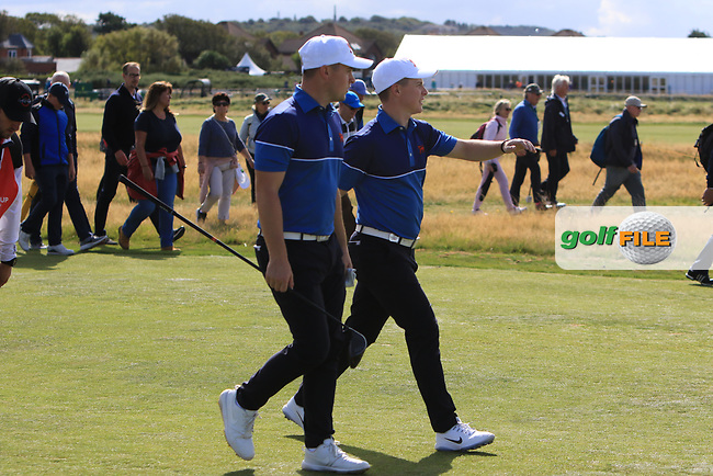Alex Fitzpatrick (GB&I) and Conor Purcell (GB&I) on the 17th during the Foursomes at the Walker Cup, Royal Liverpool Golf CLub, Hoylake, Cheshire, England. 07/09/2019.<br /> Picture Thos Caffrey / Golffile.ie<br /> <br /> All photo usage must carry mandatory copyright credit (© Golffile   Thos Caffrey)
