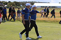 Alex Fitzpatrick (GB&I) and Conor Purcell (GB&I) on the 17th during the Foursomes at the Walker Cup, Royal Liverpool Golf CLub, Hoylake, Cheshire, England. 07/09/2019.<br /> Picture Thos Caffrey / Golffile.ie<br /> <br /> All photo usage must carry mandatory copyright credit (© Golffile | Thos Caffrey)