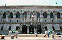 Boston:  The Public Library, Copley Square.  McKim, Mead and White, 1885-95. Corner of Boylston and Dartmouth St.  Renaissance style.  Made of pink Milford granite.  Photo '88.