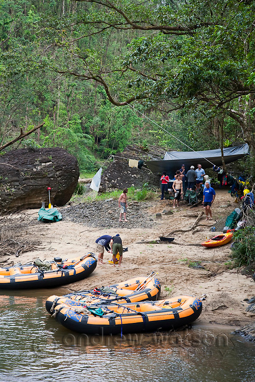 Rainforest campsite on a white-water rafting expedition of the North Johnstone River.  Wooroonoonan National Park, Queensland, Australia