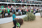 February 2nd 2019, Scottsdale, Arizona, USA; Bubba Watson hands out some gifts to fans on the 16th hole during the third round of the Waste Management Phoenix Open on February 02, 2019, at TPC Scottsdale in Scottsdale, AZ.