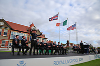 Thomas Sloman (GB&I) is introduced during the opening ceremony at the Walker Cup, Royal Liverpool Golf CLub, Hoylake, Cheshire, England. 06/09/2019.<br /> Picture Fran Caffrey / Golffile.ie<br /> <br /> All photo usage must carry mandatory copyright credit (© Golffile | Fran Caffrey)